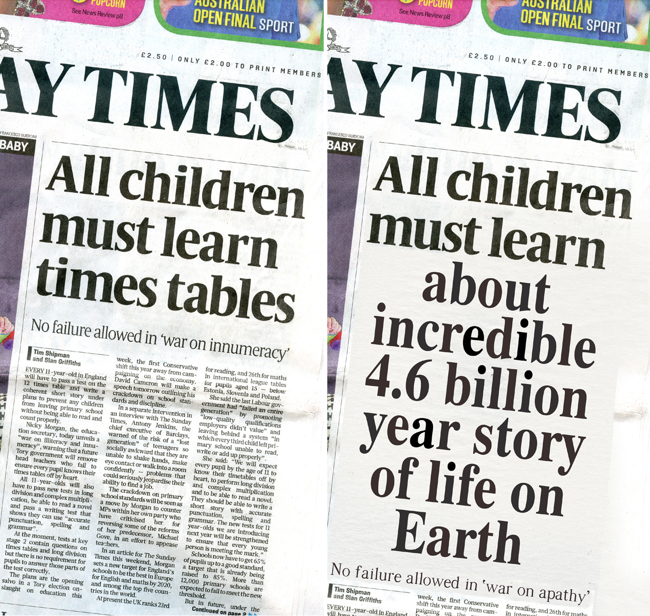 A Sunday Times headline: as it was (left) and as it could be (right)