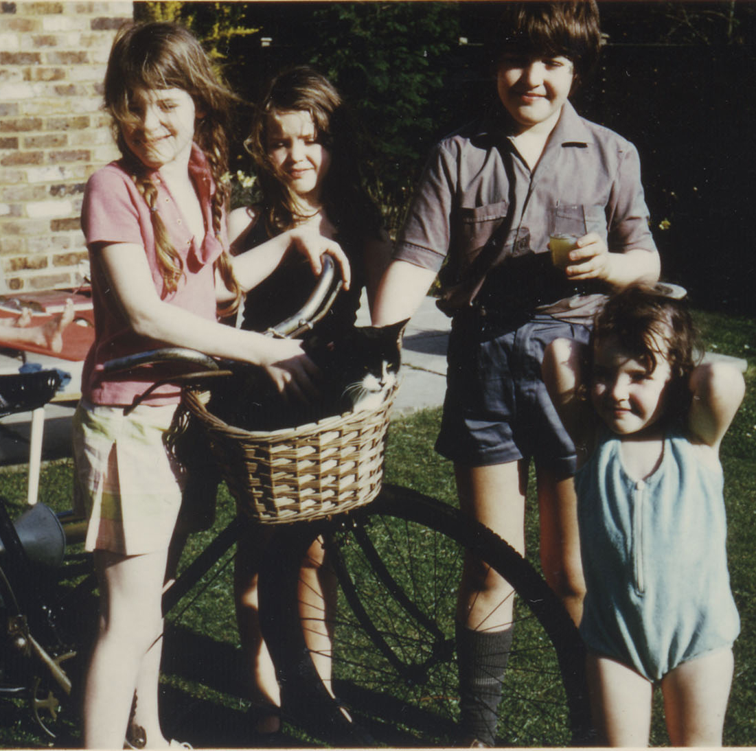 Here is my cat C1973. In a basket. I'm the one holding the bicycle